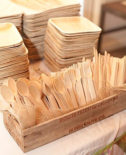 BloominGoods Disposable Wooden Cutlery Set |100 Forks, 50 Knives, 50 Spoons | GO GREEN! Eco Friendly, Biodegradable, Compostable, 100% Natural Wood Utensils by BloominGoods (Image #3)