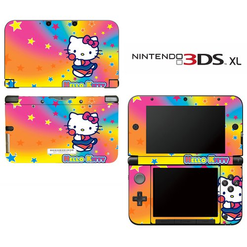 Hello Kitty Pink Hearts Rainbow Princess Girl Video Game Vinyl Decal Cover Skin Protector for Nintendo 3DS XL (Nintendo Xl 3ds Decal)