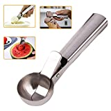 7 inch dough press - Stainless Steel Ice Cream Scoop Cookie Dough Scooper with Trigger Release for WaterMelon, Frozen Yogurt Sorbet, Jelly and Baking Digging Spherical Shape, Dishwasher Safe, 7 inch Length