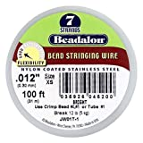 Beadalon JW01T-1 100-Feet 7-Strand Stainless Steel Bead Stringing Wire, 0.012-Inch, Bright