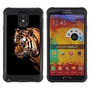 """Pulsar iFace Series Tpu silicona Carcasa Funda Case para SAMSUNG Galaxy Note 3 III / N9000 / N9005 , Tigre Gato Grande Rayas Ojos salvajes Cara del retrato"""""""