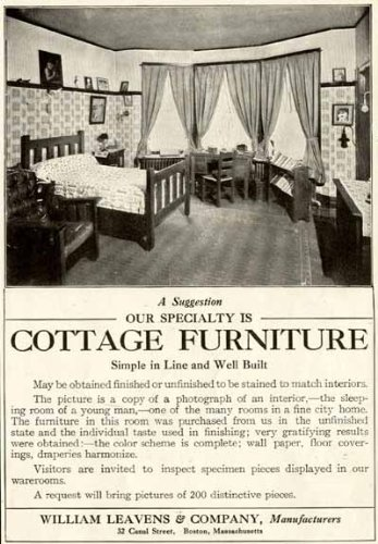 MISSION OAK BEDROOM SUITE SHOWN IN 1908 WILLIAM LEAVENS & CO. FURNITURE AD Original Paper Ephemera Authentic Vintage Print Magazine Ad / (Mission Oak Bedroom Suite)