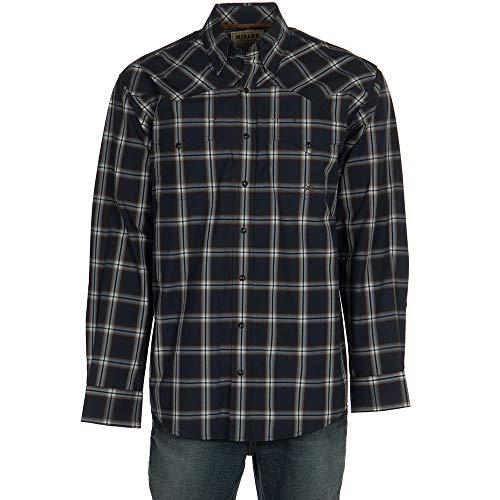 - Miller International Mens Long Sleeve Plaid Snap Shirt M Navy