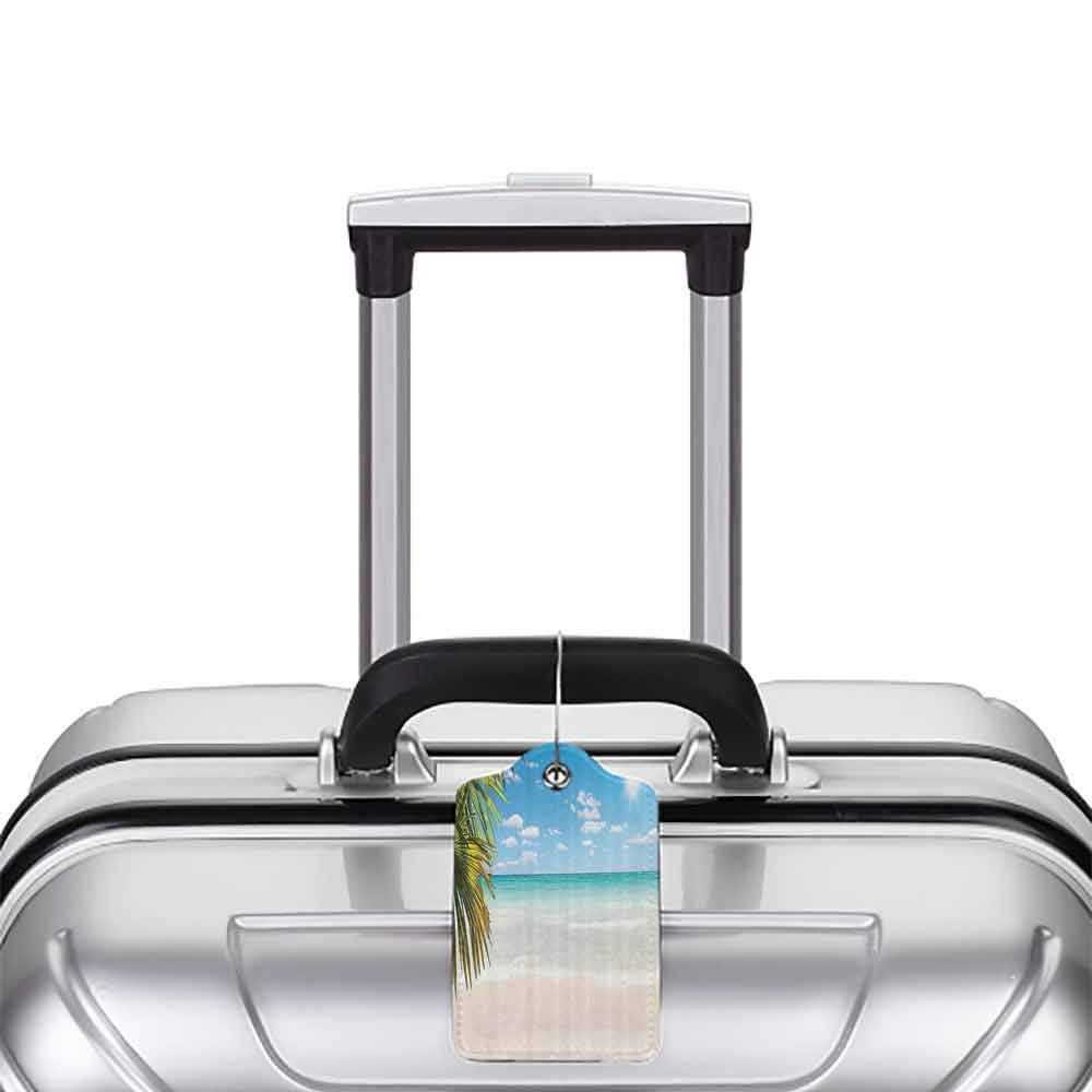 Personalized luggage tag Ocean Decor Collection Dreamy Caribbean Beach with Crystal Clear Water Sky and Palm Leaves Away Print Easy to carry Cream Turquoise Green W2.7 x L4.6