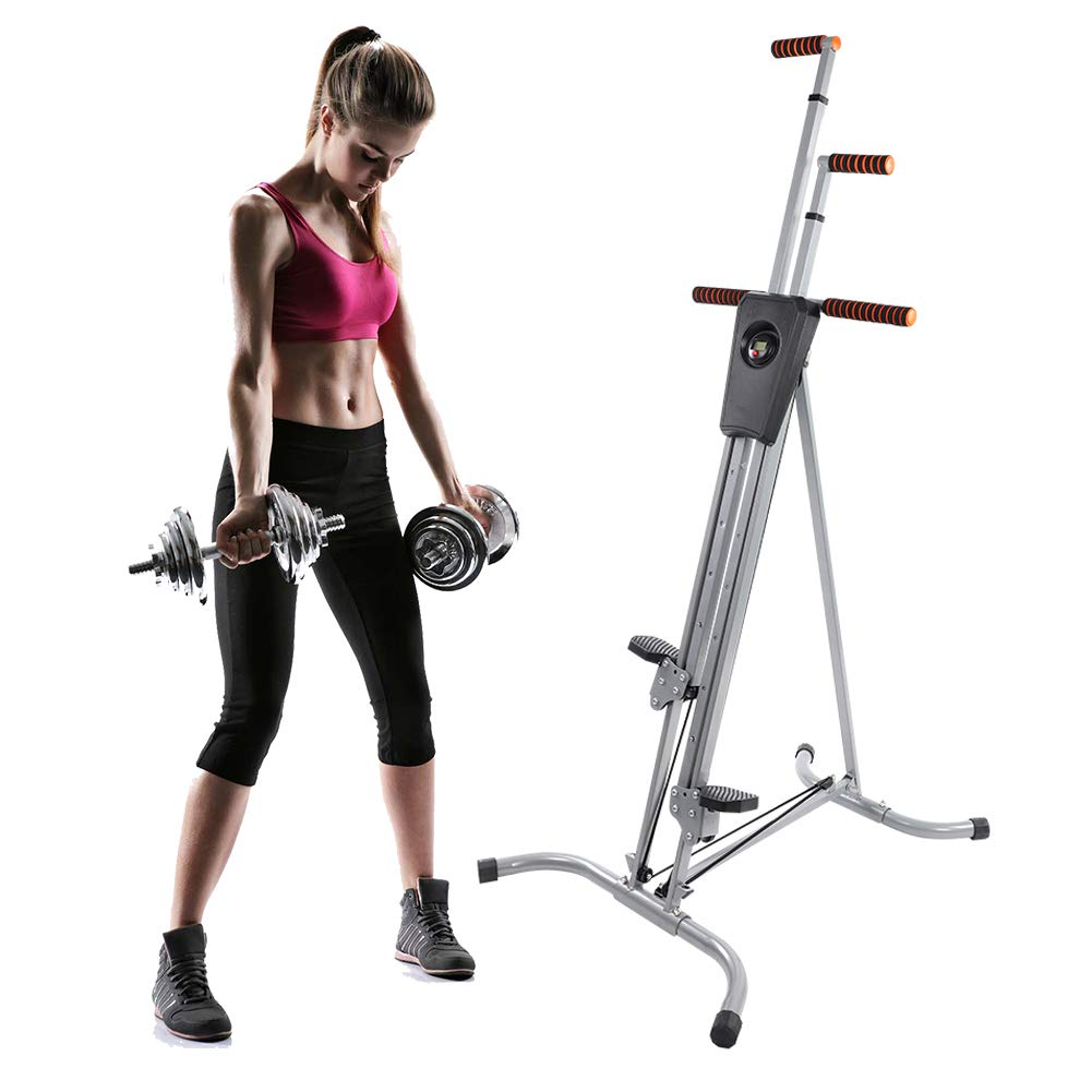 Exercise Climber, Heavy Duty Adjustable Height Folding Fitness Vertical Climber Workout Stepper Climbing Cardio Machine for Home and Gym