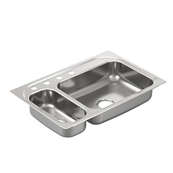 Moen G202854 2000 Series 20 Gauge Double Bowl Undermount Sink ...