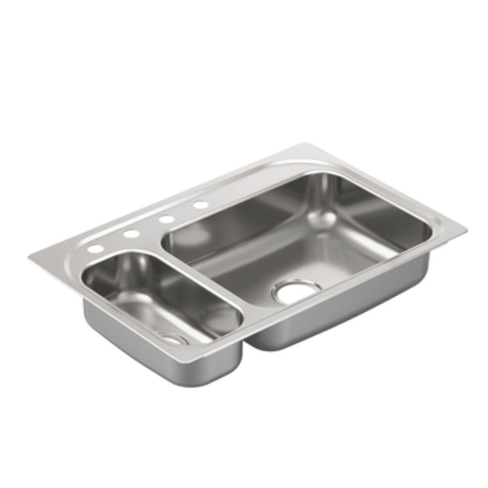 Moen G202854 2000 Series 20 Gauge Double Bowl Undermount Sink, Stainless Steel