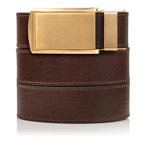 SlideBelts Top Grain Leather Ratchet Belt (Brown with Gold Buckle, Up to 48