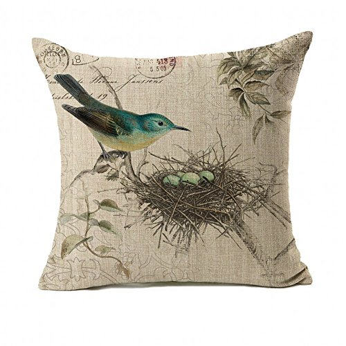 Home Spring Decor Easter (4TH Emotion Vintage Bird's Nest Easter Home Decor Throw Pillow Case Cushion Cover 18 x 18 inch Cotton Linen)