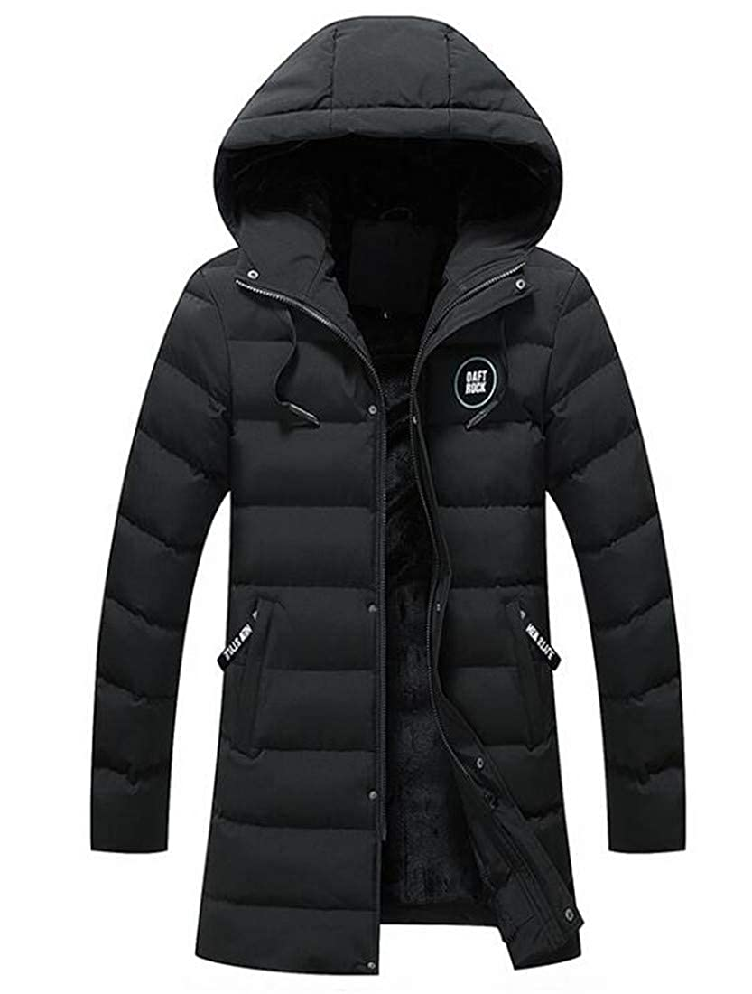Domple Men Winter Hooded Warm Thick Fleece Big /& Tall Quilted Down Jacket