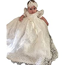 Newdeve Baby-girls Beads White Lace Christening Baptism Gowns Long
