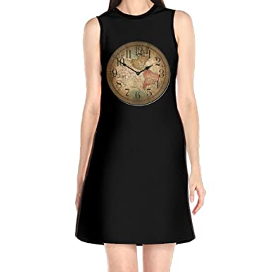 Cotyou 6 womens sleeveless dresses old world map clock o neck t cotyou 6 womens sleeveless dresses old world map clock o neck t shirt loose dress at amazon womens clothing store gumiabroncs Image collections