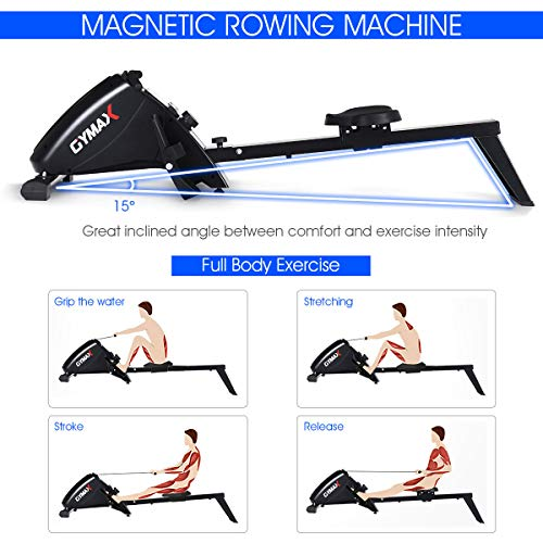 Goplus Magnetic Rowing Machine, Foldable Rower with 10-Level Tension Resistance System, LCD Monitor, Transport Wheels, Full Body Exercise for Home Use (Black)