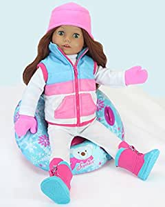18 Inch Doll Clothes Winter Accessory 4 Pc. Set, Snow Tube Set Includes a Vest, Hat, & Mittens! Perfect for your 18 Inch American Girl Dolls & More! Winter Vest, Hat, Mittens & Doll Snow Tube