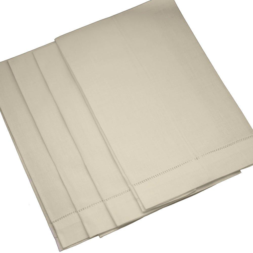 Bumblebee Linens Ecru Linen Hemstitched Tea Towels - set of 4- Ladder Hem Stitch Cloth Guest Hand