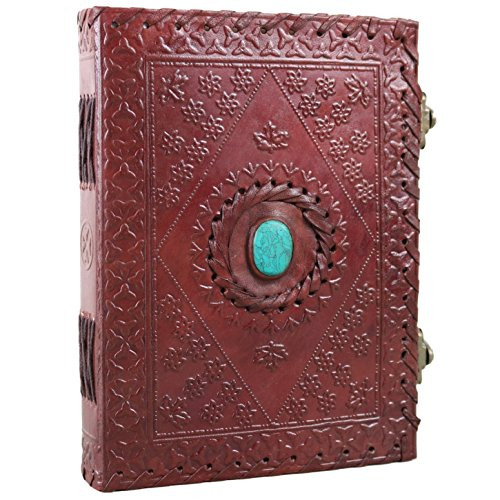 Leather Journal with Stone Unlined Notebook Diary Sketchbook 6 X 8 Inches by Ferus & Fivel ()