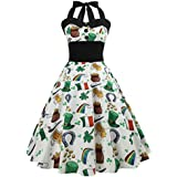 WuyiMC 2018 Hot Sale! Women Vintage Printing Bodycon Dresses, Sleeveless Halter Prom Swing Dress for Evening Party