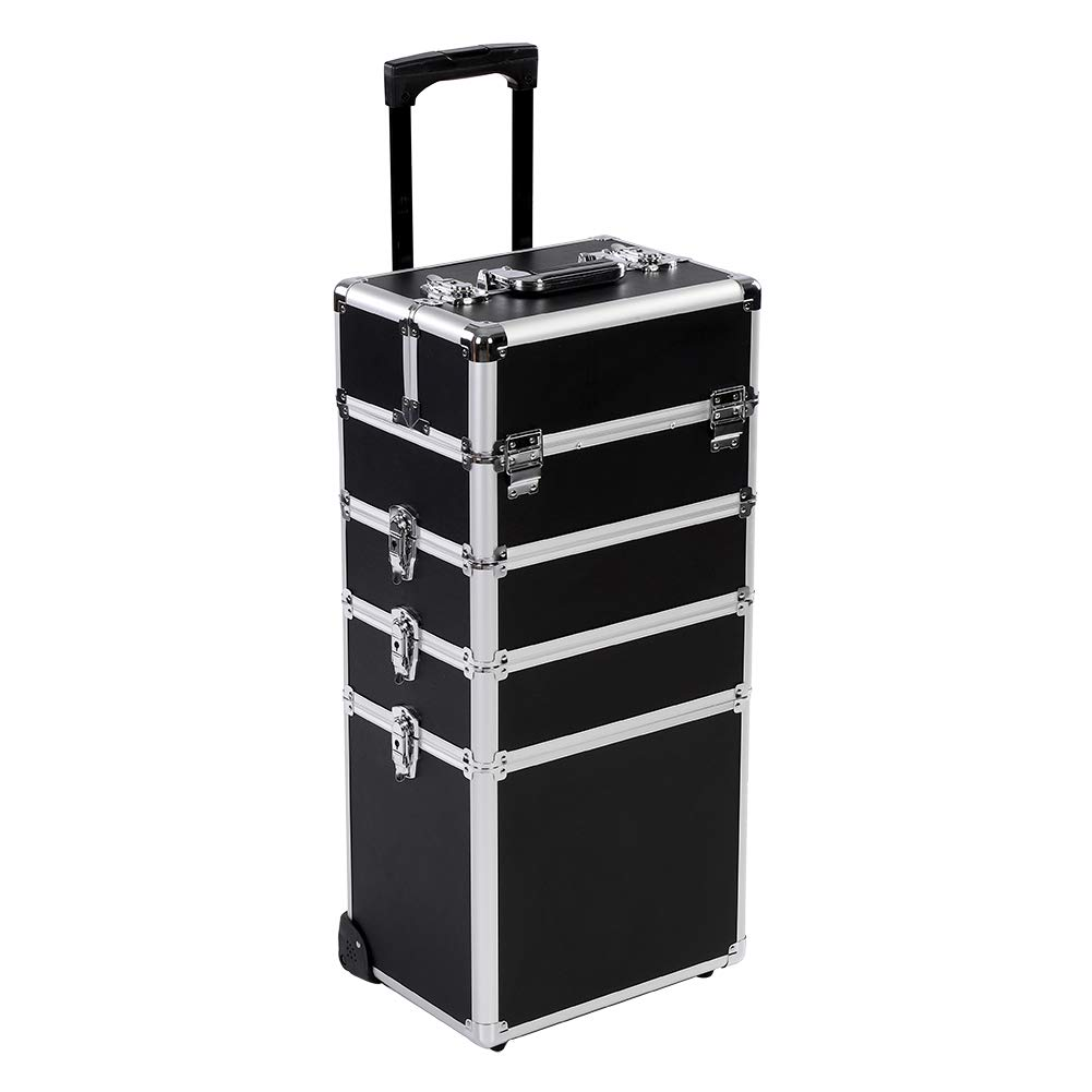 Rolling Makeup Trolley, 4 in 1 Portable Cosmetics Case Beauty Hairdressing Train Case Carry Bag Box With Wheels