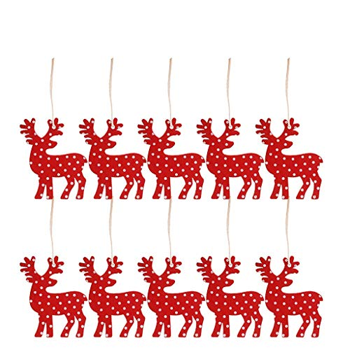 Hohaski 10 Pieces of Wooden Pendants Christmas Decorations Home Improvement Gifts, Stickers Bar Ornament Yard Garden Porch Party Garland Snowflake Bell DIY from Hohaski