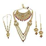 MUCHMORE Unique Style Polki Traditional Necklace Earring Bridal Set With Ruby Droppings