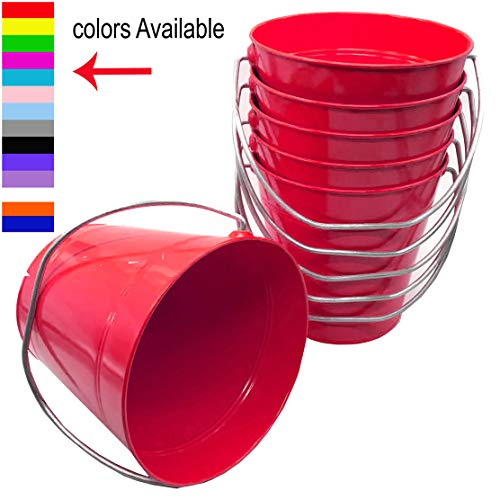 Bucket Red - Italia 6-Pack Metal Bucket 0.5 Quart Color Red Size 4.3x 4.3