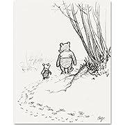 Lone Star Art Walking Away - Winnie the Pooh and Piglet 11x14 Unframed Nursery Art Print