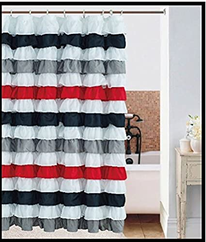Waterfall Ruffled Fabric Shower Curtain BLACK RED