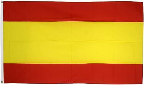 Flaggenfritze - Bandera de España sin escudo + pegatinas, diseño de bandera de España, Hissflagge 90 x 150 cm: Amazon.es: Jardín