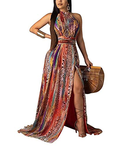(IyMoo Sexy Chiffon Sundress Tie Dye Dresses for Women Halter Neck Backless Long Boho Print Beach Dresses (XL, Retro Color))