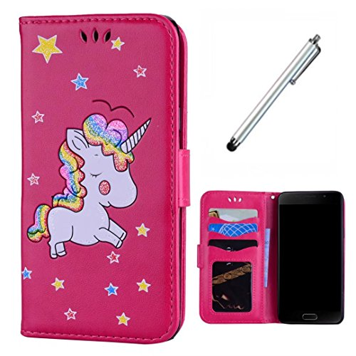 Samsung Galaxy A3(2016) SM-A310 Case Wakso Accessory Cover Book Style PU Leather Cover Wallet Case with Card Slots & Stand Function Cover Embossed Unicorn - Rose Red + Metal Touch Pen ()