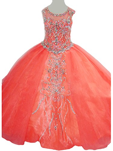 MCandy Big Girls' Jewel Party Princess Ball Gowns Pageant Dress 14 US Coral by MCandy