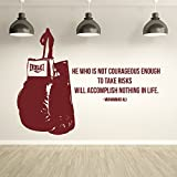 Muhammad Ali He Who Is Not Courageous Quote` Boxing Wall Sticker Sport Gym Decal available in 5 Sizes and 25 colors X-Large Black