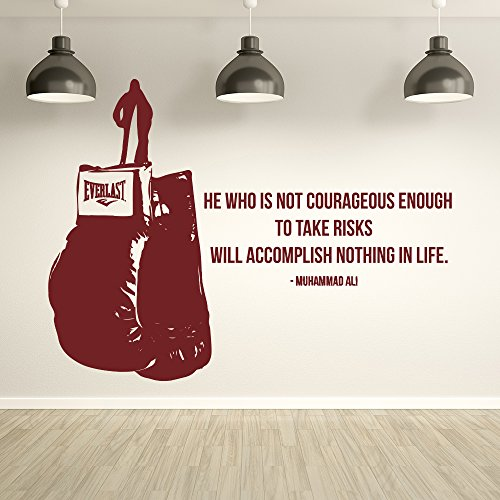 Muhammad Ali He Who Is Not Courageous Quote` Boxing Wall Sticker Sport Gym Decal available in 5 Sizes and 25 colors X-Large Black by IconWallStickers