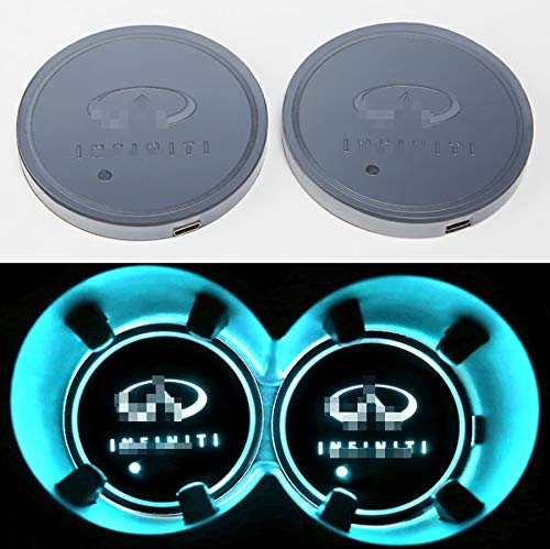 monochef Auto Sport 2PCS LED Cup Holder Mat Pad Coaster with USB Rechargeable Interior Decoration Light Fit in-finiti Accessory