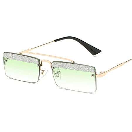 1a1c8d598437 SUNGLASSES Retro Square Women's Catwalk Personality Glasses with Shiny  Little Drill Piece Polarized glasses (Color : Gold frame green lens):  Amazon.co.uk: ...
