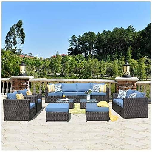 Garden and Outdoor ovios Patio Furniture Set, 12 PCS Big Size Outdoor Furniture Sets, PE Rattan Wicker Sectional with Coffee Table and… patio furniture sets