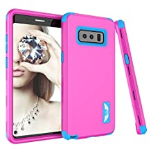 "Galaxy Note 8 Case, MCUK [Shockproof] 3 in 1 High Impact Hybrid Armor Defender Silicone Rubber Hard Skin Heavy Duty Full-Body Protective Case for Samsung Galaxy Note 8 6.3"" 2017 (Rose+Blue)"