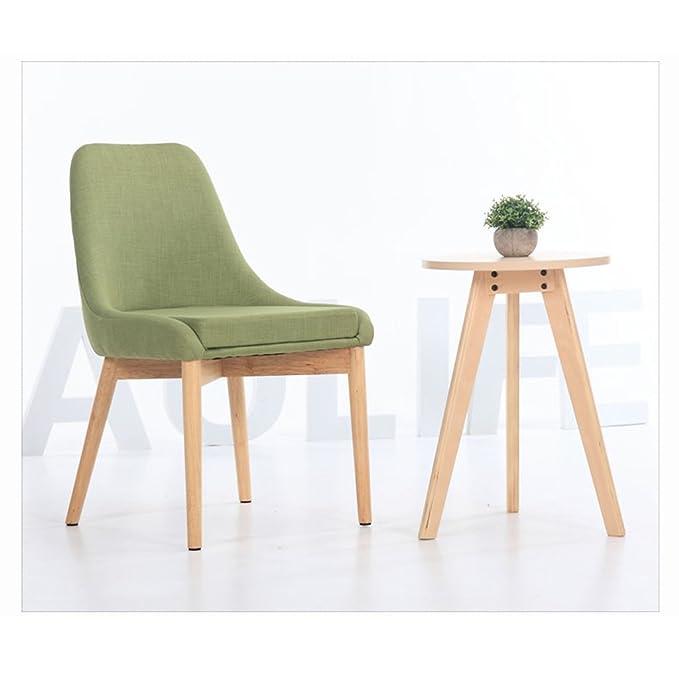 Amazon.com: Nordic silla de madera, Simple tela silla de ...