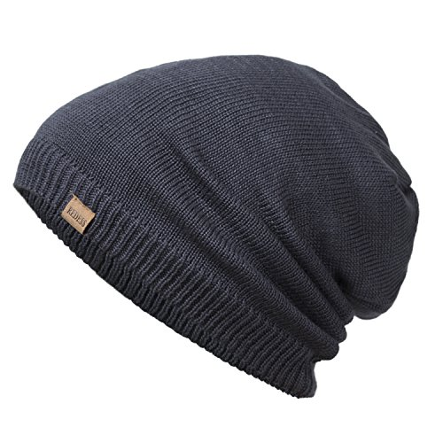 REDESS Slouchy Long Oversized Beanie Hat for Women and Men, Variy Styles and Colors Fleece Lined Winter Warm Knit Cap by (Navy)