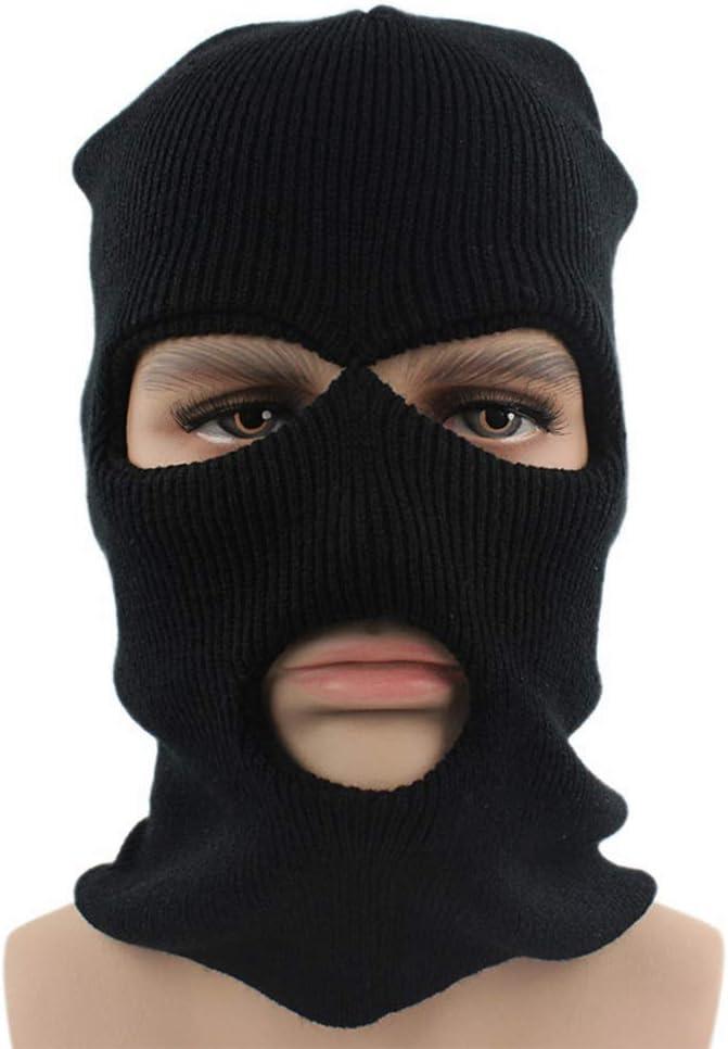 MAOJIE Gestrickte Vollgesichtsmaske mit 3 L/öchern Winter Warme Strickmaske Elastische Skimaske Schwarz