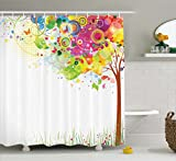 pink and yellow shower curtain - Color Bursting Tree of Life Colorful Pastoral Creative Design Modern Style Art Print Decor Bathroom Decoration Abstract Paints Illustration Artwork Fabric Shower Curtain Green Yellow Pink Purple