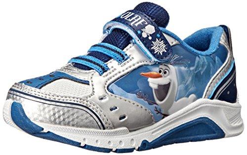 Disney Frozen Olaf Light Up Sneaker, White/Navy, 7 M US Toddler
