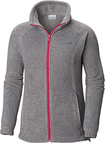 Columbia Women's Plus Size Benton Springs Full Zip, Light Grey Heather/Fuchsia, 2X