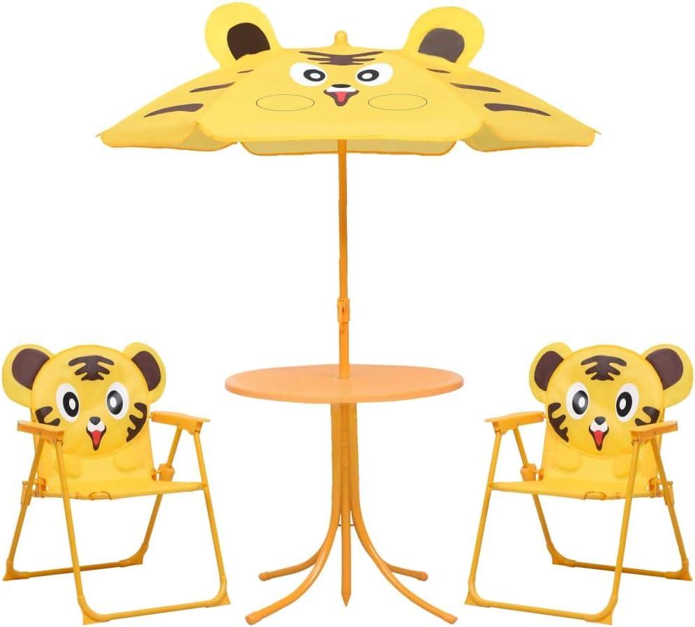 Festnight Mesa y Sillas de Jardín Infantil 3 pzas con Sombrilla Set de Muebles de Jardín Amarillo