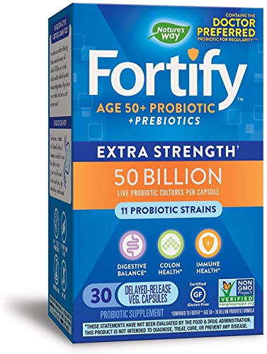 Nature's Way Fortify Extra Strength 50+ Daily Probiotic, 50 Billion Live Cultures, 11 Strains, Prebiotic, 30 Capsules
