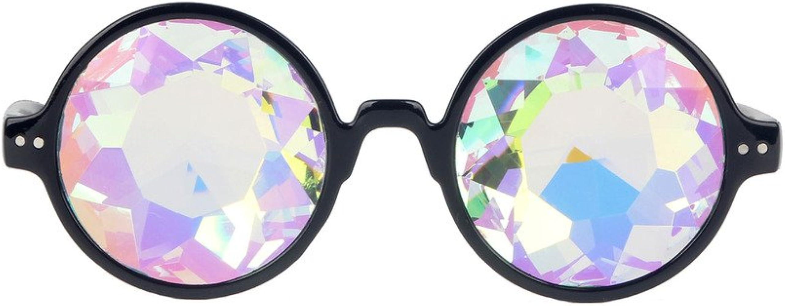 Kaleidoscope Glasses Rave Festival Party Sunglasses Diffracted Lens-Black J6P1