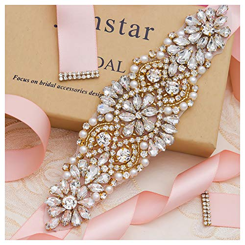 Yanstar Handmade Gold Crystal Beads Rhinestone Wedding Bridal Belt Sash With Blush Ribbon For Wedding Dress ()