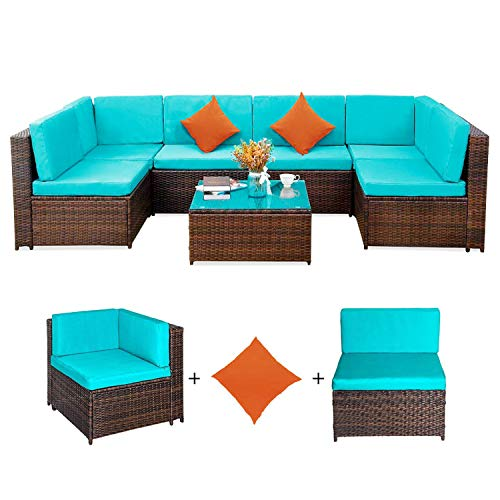 Romatlink, 7-PCs Outdoor Rattan Patio Furniture Set, Modern Wicker Conversation Sectional Sofa Chairs with Cushioned Couch | Glass Top Coffee Table & 2 Red Pillows