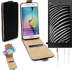 TOP SET: Caso Smartphone para Xiaomi Mi 3 cubierta del estilo del tirón 360°, negro + Auriculares, cubierta del tirón - K-S-Trade   Funda Universal Caso Monedero cubierta del tirón Monedero Monedero