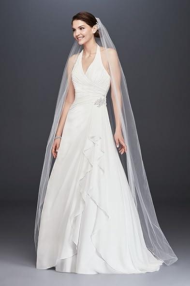 David\'s Bridal Pleated Chiffon Halter Wedding Dress with Ruffle ...
